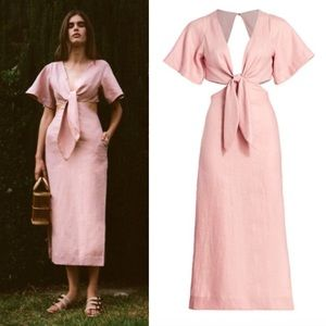 Cult Gaia Maya Cutout Tie-Front Linen A-Line Dress